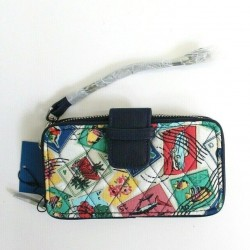 Vera Bradley Women Cuban Stamps Quilted Fabric RFID Wallet