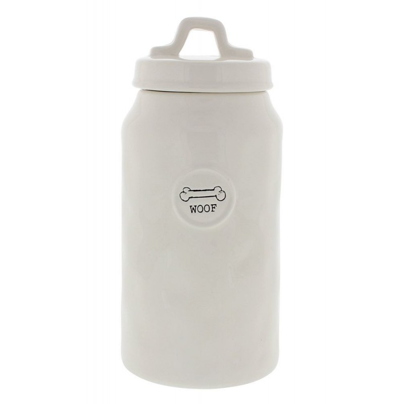 Rae Dunn Magenta WOOF Bone Canister Jar Container