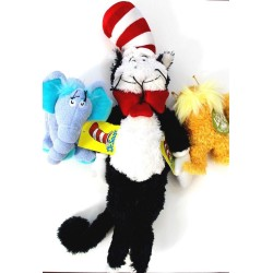 Dr Seuss Horton, Lorax and Large Cat in the Hat Plush Toys Set