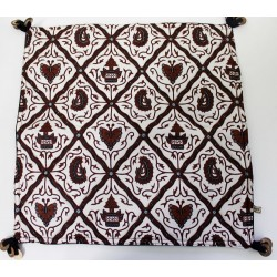 Batik Indonesia Pillow Cushion Cover Black, Brown with Temple and Butterly Arts - Handmade Quilt Stitch