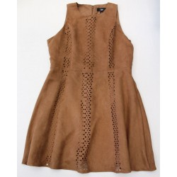 Mossimo Women's Brown Laser Cut Faux Suede Sleeveless Dress