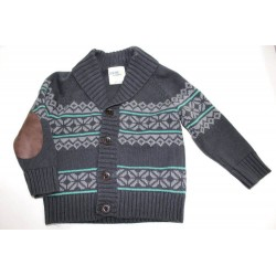 Genuine Kids from Oshkosh Boys' Nordic Cardigan Sweater Charcoal Elbow Patch