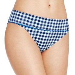 Tommy Bahama Women's Gingham Plaids Blue Wide-Band Hipster Swim Bottom Size M