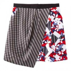 Peter Pilotto Red Floral & Check Print Skirt