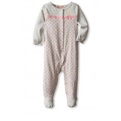 Juicy Couture Baby Girls Polka Dot Footed Sleeper Coverall - Gray Pink