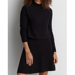 American Eagle Outfitters Black Tiered Soft Sweater Knit Dress