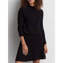 American Eagle Outfitters Mock Neck Black Sweater Dress