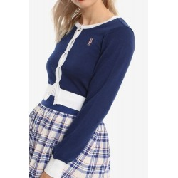 Her Universe Doctor Who Union Jack Girls Crop Navy White Cardigan