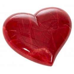 Alabaster Italian Red Heart Stone Paperweight