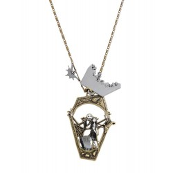 The Nightmare Before Christmas Mixed Metal Jack Sally Coffin Pendant Necklace