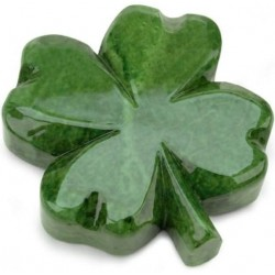 Leaf Clover Italian Green Alabaster Stone Paperweight
