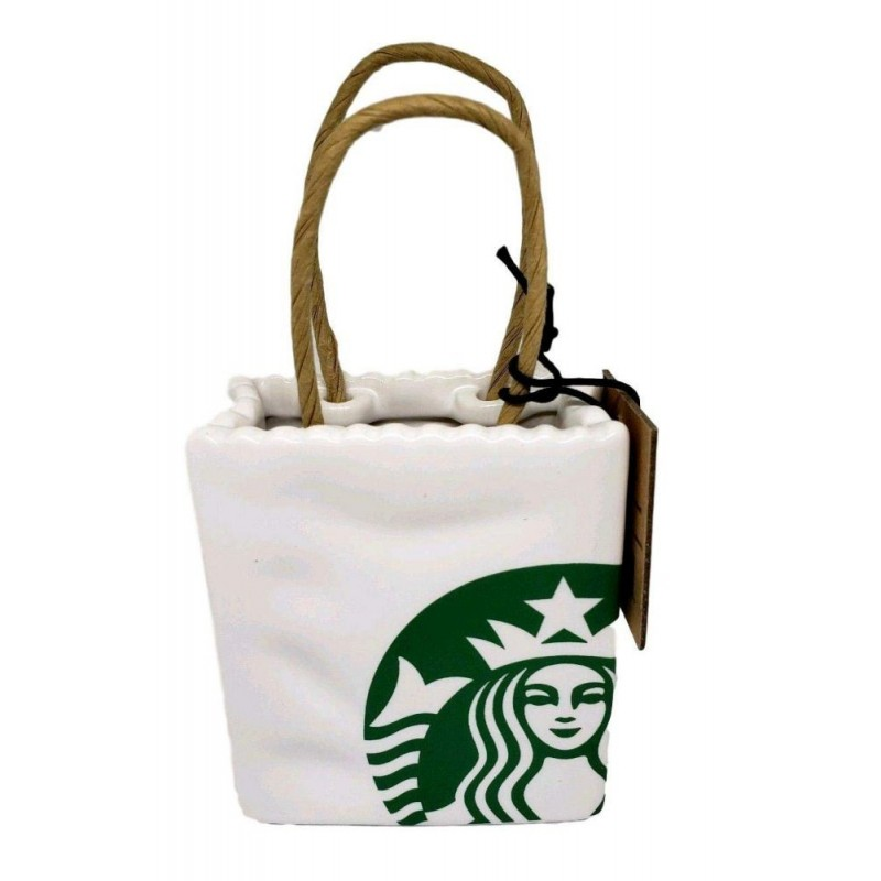 Starbucks Holiday Christmas Ceramic Tote Ornament Gift Card Holder 2018 Limited Edition