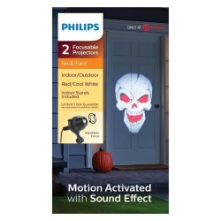 Philips Halloween 2 Motion Skull Face Focusable LED Projectors with Sound Effect