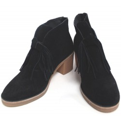 UGG Corin Suede Leather Zipped Black Boots with Tassel Fringe Size US Women 8.5