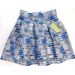 Ginger G Women Gray Blue Striped Floral Pleated Organza Skirt Size M