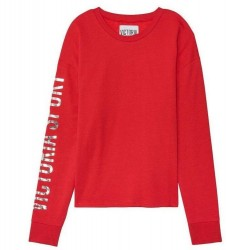 Victoria's Secret Sport Logo Fleece Crew Relaxed Slouchy Pullover Red Sweater