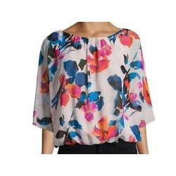 Vince Camuto Three-Quarter-Sleeve Floral Sheer Top - Size Petite Smal