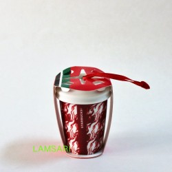 Starbucks Red Flames Ceramic Christmas Holiday Ornament