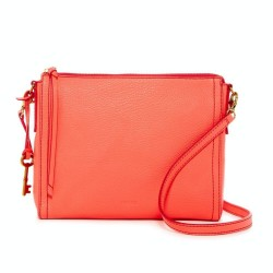 Fossil Emma Leather Neon Coral Crossbody Bag