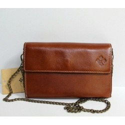 Patricia Nash Heritage Collection Tan Leather Flap Chain Small Crossbody Bag